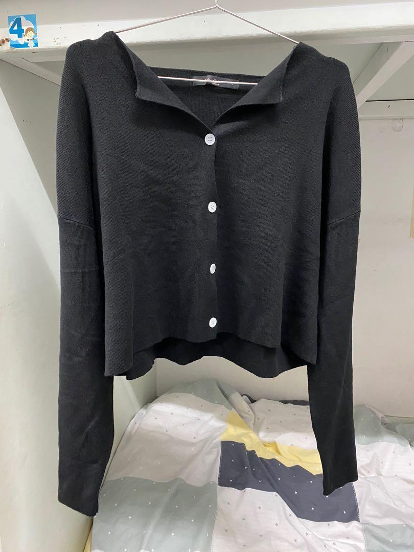 QUEENSHOP 黑色短版開襟長袖上衣