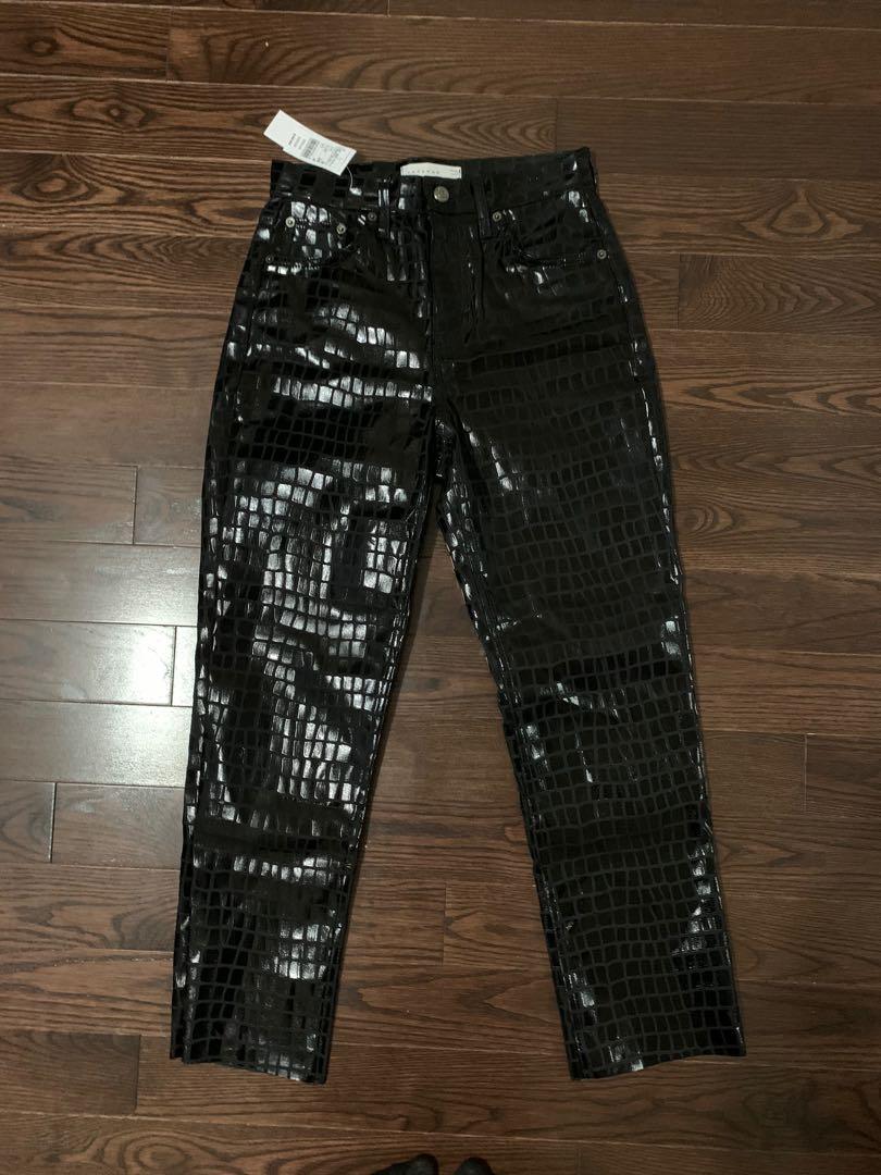 Topshop black croc editor jeans