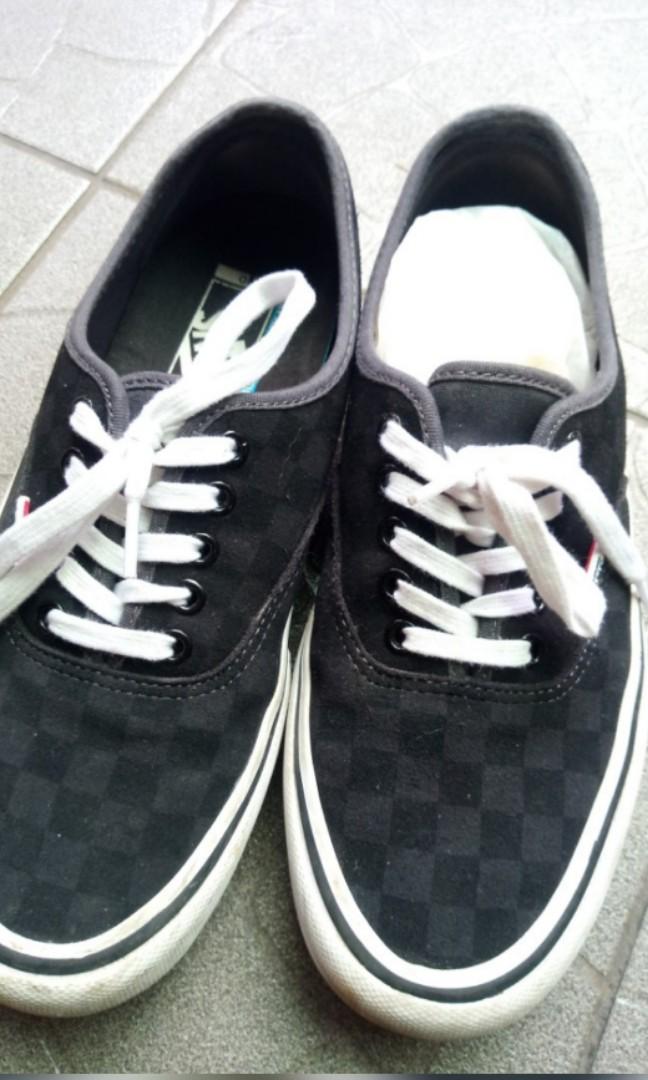 Vans  男鞋 近全新 AUTHENTIC PRO - CHECKERBOARD SUEDE BLACK