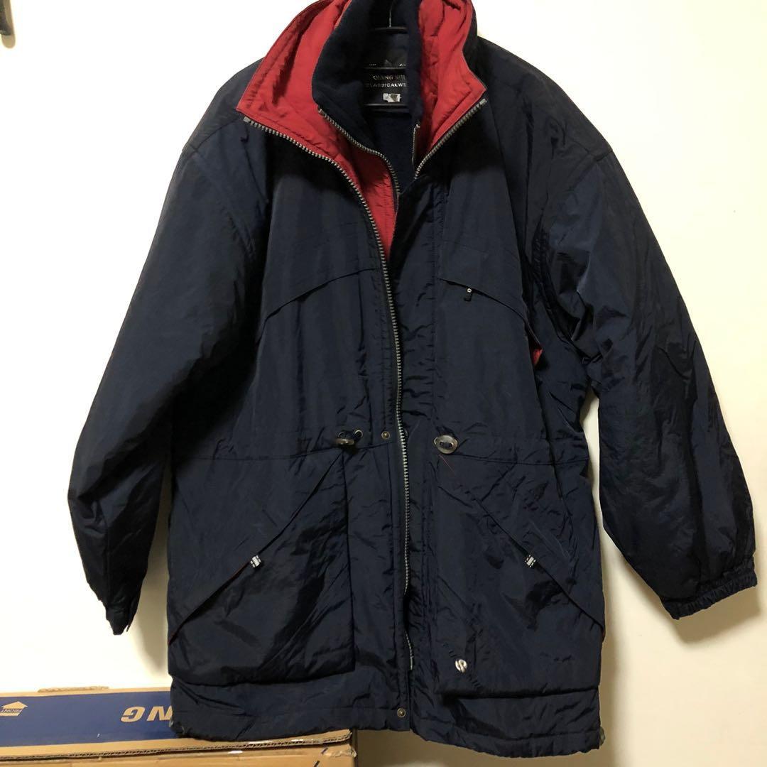 寒流必備🔥XL質感復古古著 男裝寬鬆雙層黑色鋪棉超保暖大衣外套 防風大衣