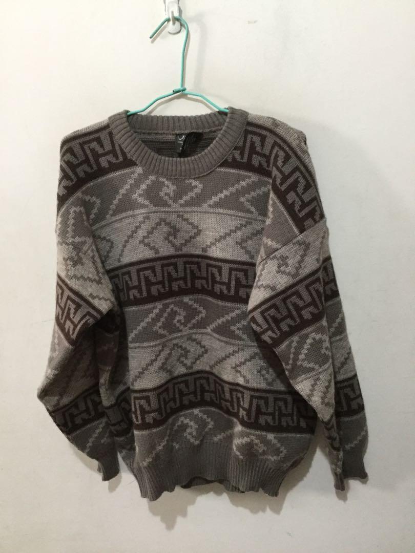 澳洲製幾何圖形100%羊毛衣