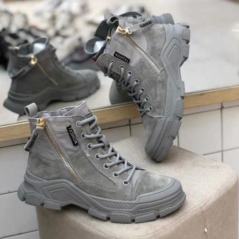 好穿的真皮-麂皮低筒老爺鞋-灰色-23.5-37