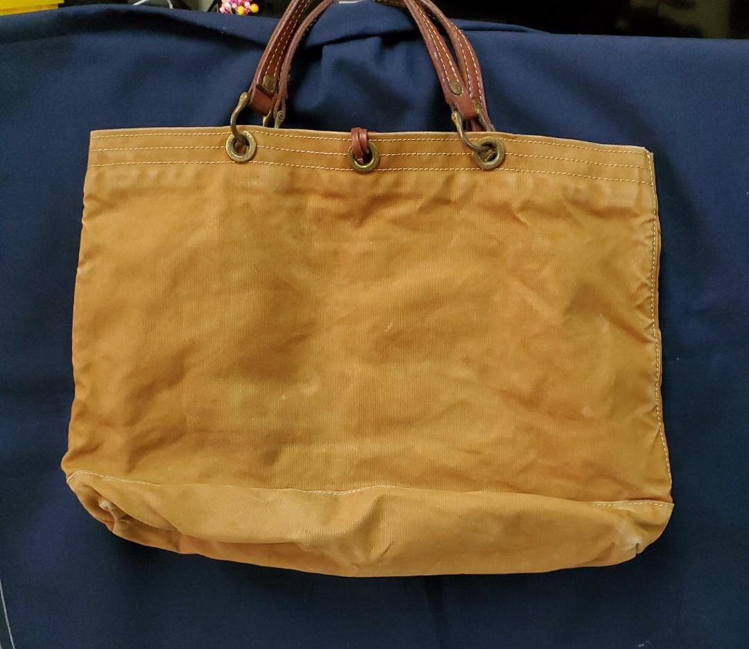 木之庄拖特手提包粽黃色底部寬耐用帆布+真皮有束口皮繩43x26x15cm