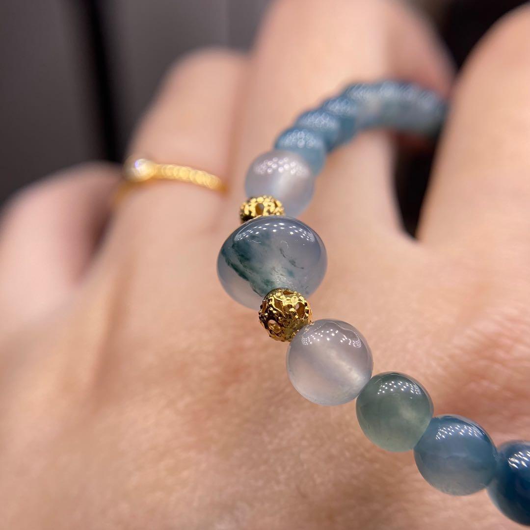 只賣主珠~高冰起光藍底飄花鼓珠9.1/6.7mm ⚠️非整串賣喔!藍珠有紋做搭配用~