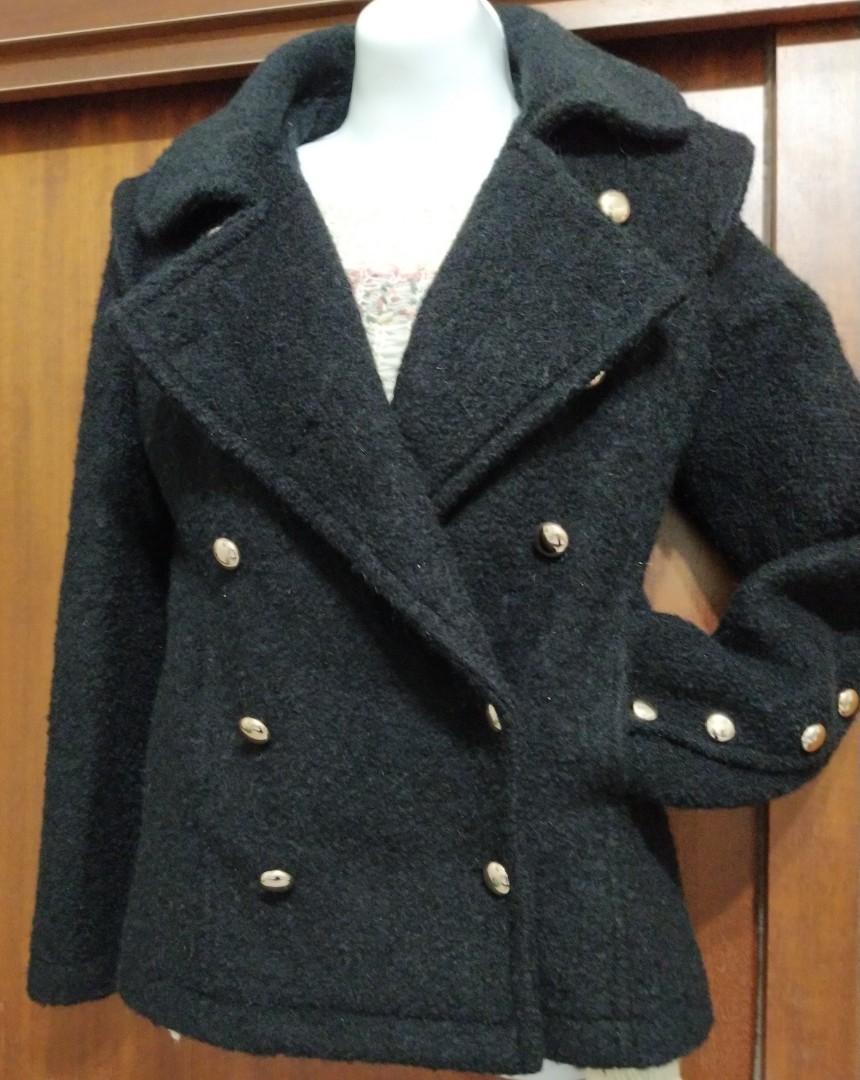 兩種穿法秋冬雙排金釦設計毛尼大衣外套(領子可翻變西裝領)近新/原790