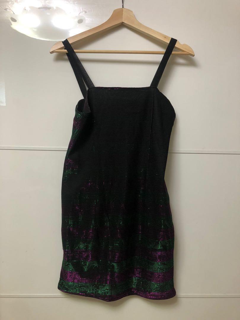 性感黑絲反光(粉綠)連身洋裝