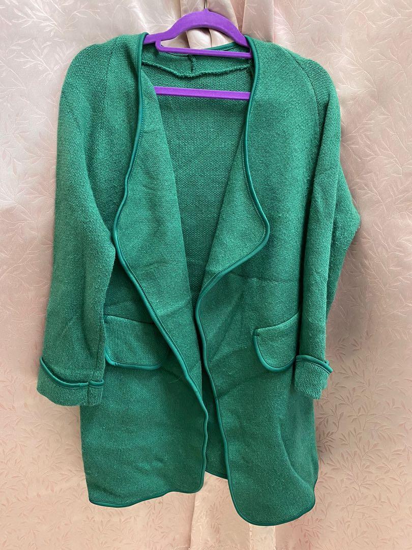 綠色針織長版外套