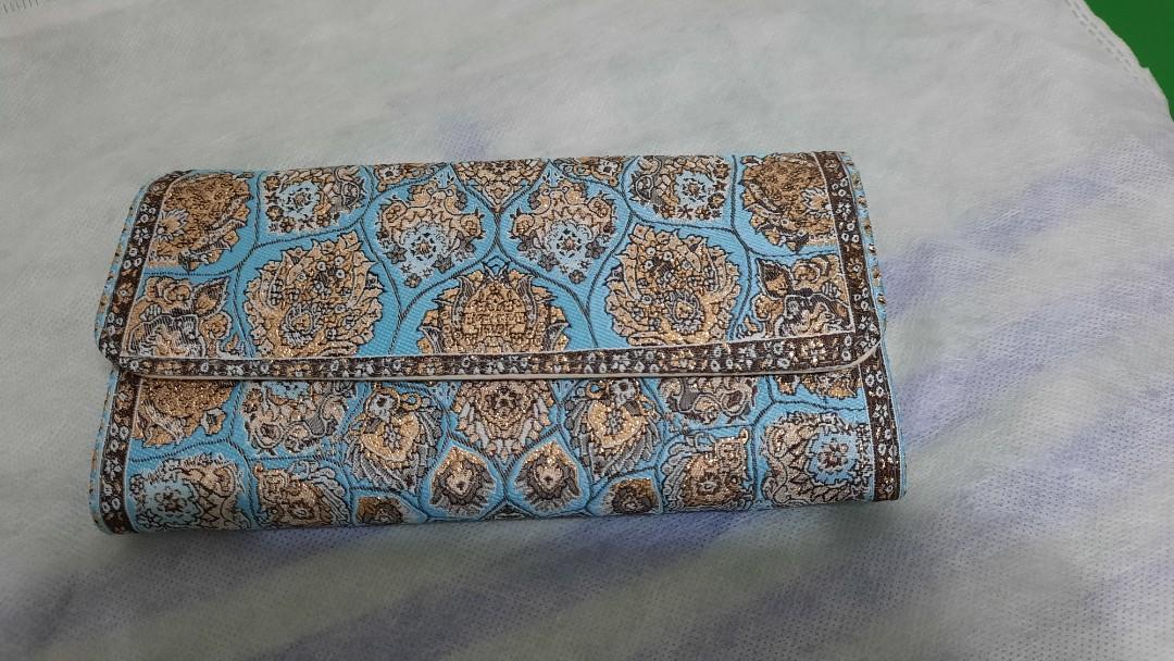 多夾層淺藍色花紋長皮夾