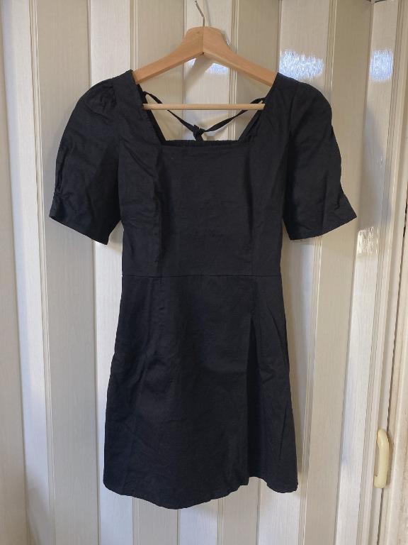 黑色顯瘦後綁帶洋裝