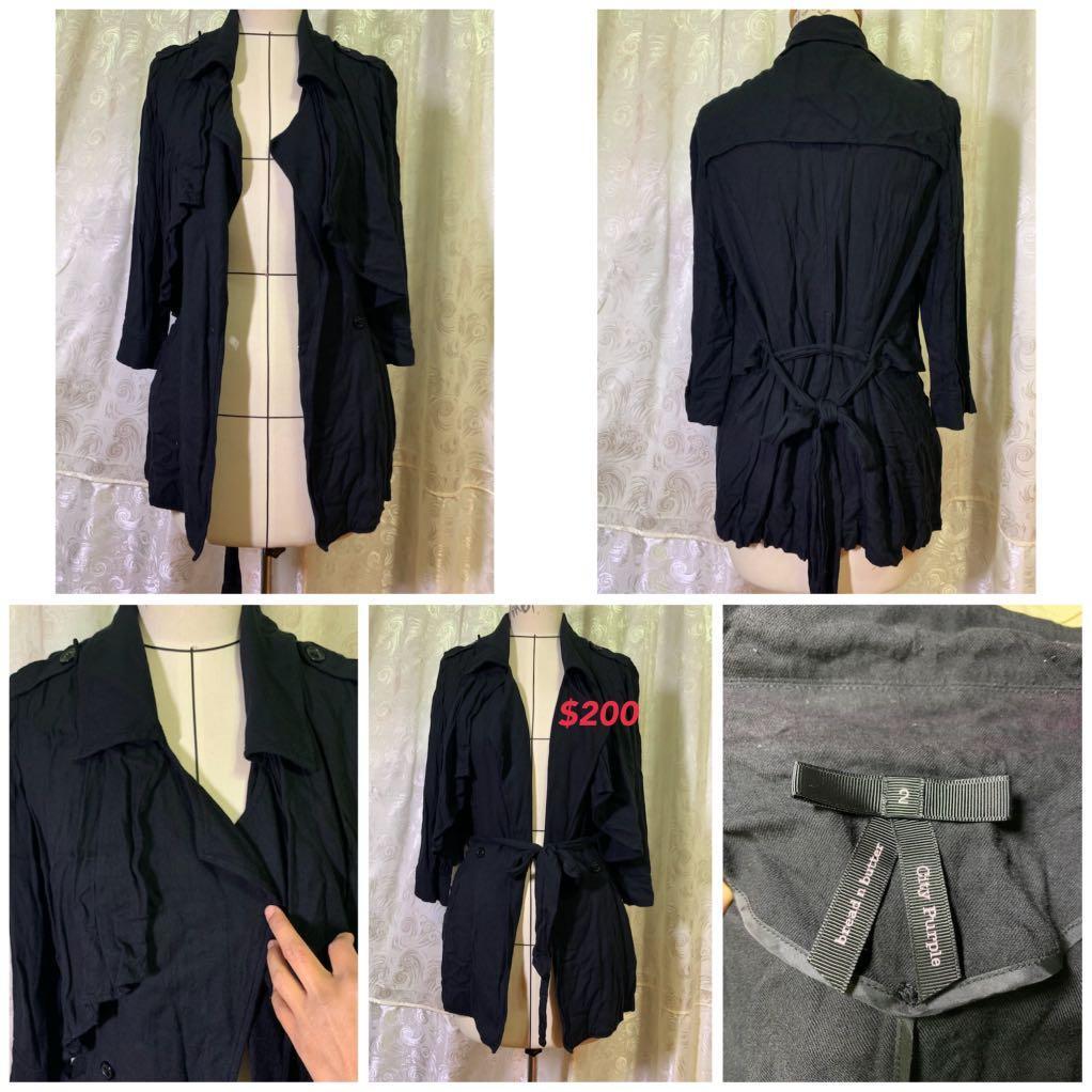 黑色長袖綁帶外套