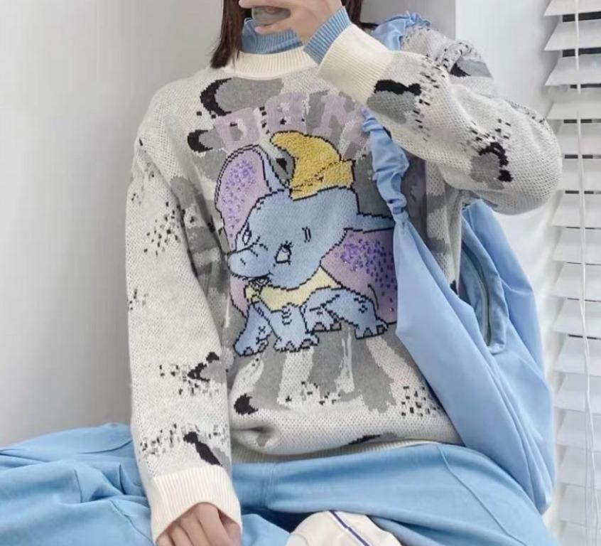 品牌質感好貨-柔軟燙鑽小飛象串珠中長針織毛衣-米白色