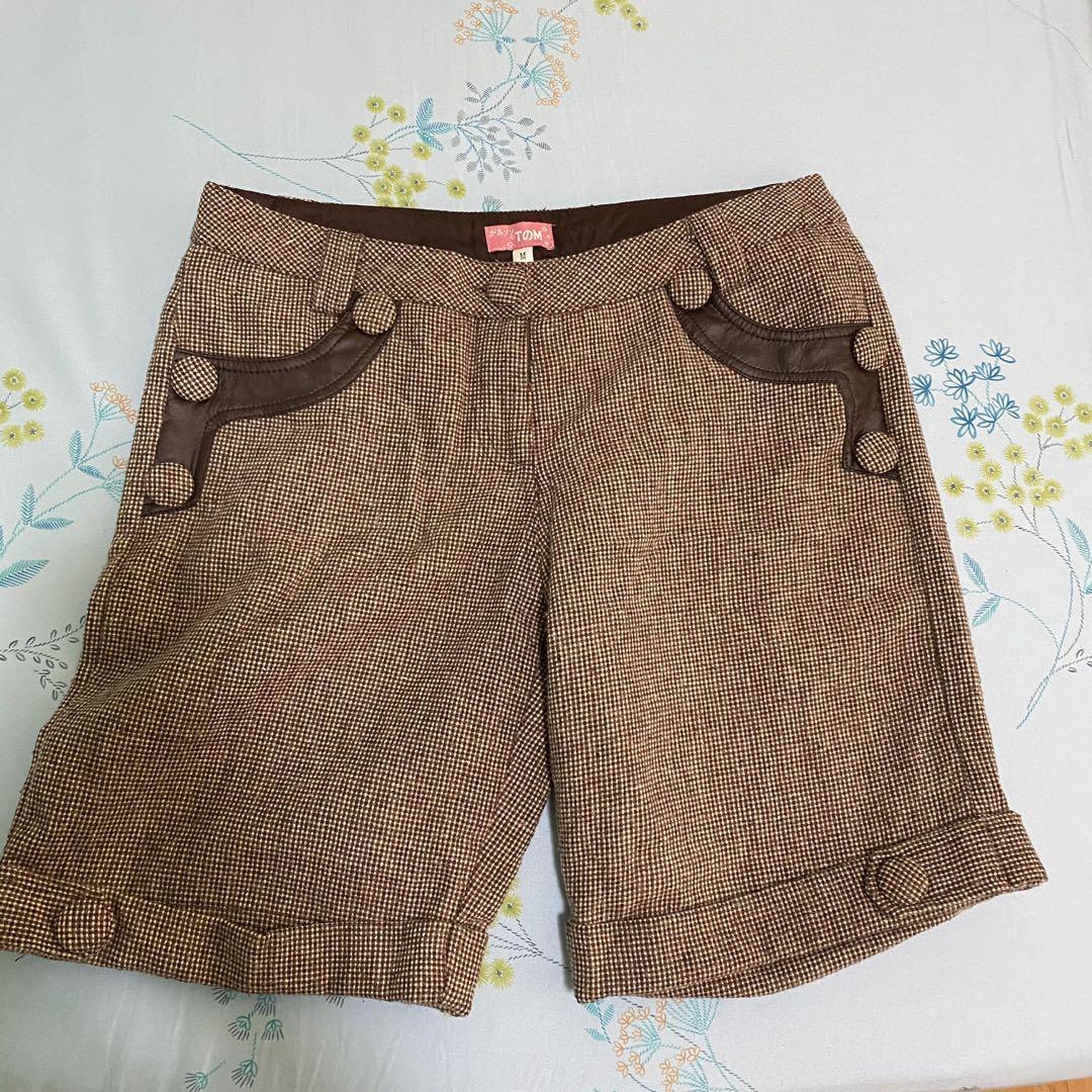 冬天毛料格紋短褲