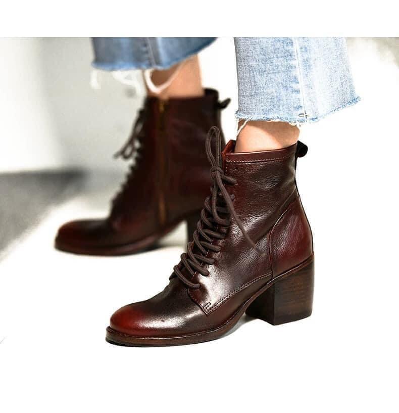 帥氣系真皮綁帶馬丁靴