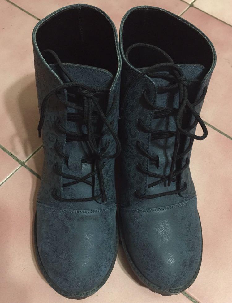 甜心 😻藍色豹紋粗跟短靴👢靴子 鞋#全新未拆