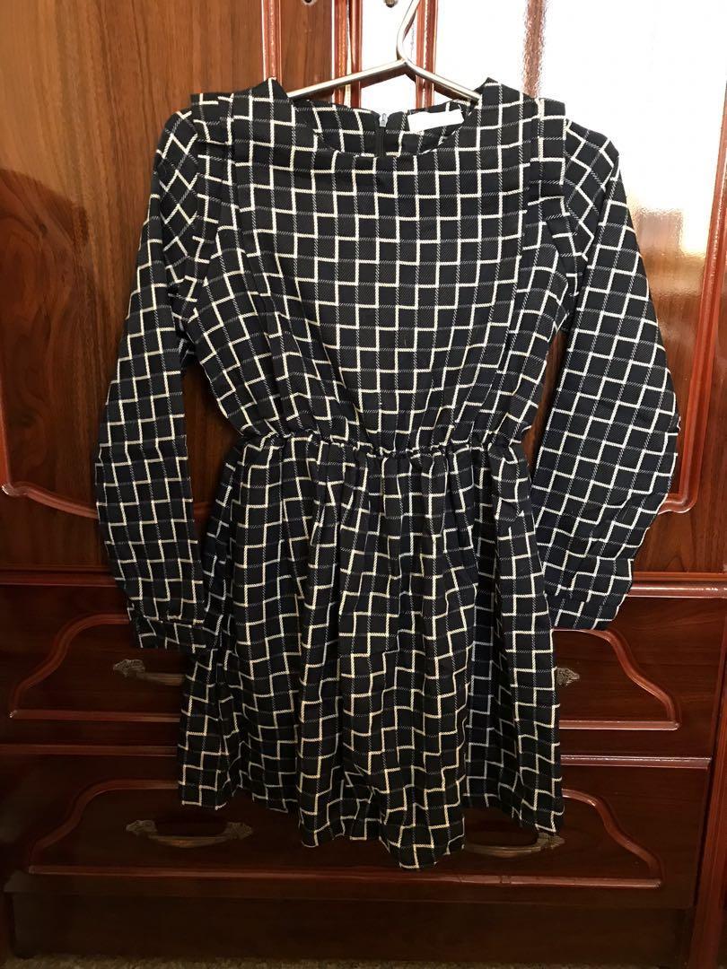 復古格子裙