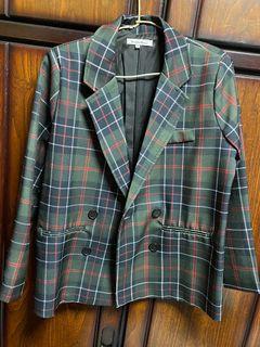 綠色格紋西裝外套
