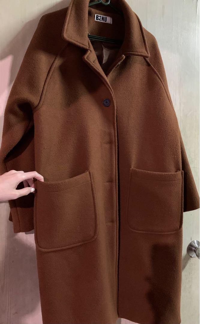 韓國購入超保暖駝色圓領大衣
