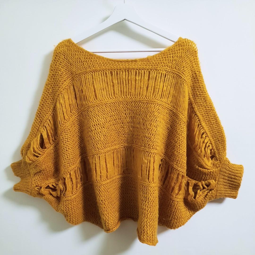 罩衫式粗針毛衣(不議價)