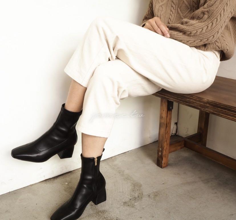 正韓🇰🇷 特殊6cm木根皮革貼腿短靴