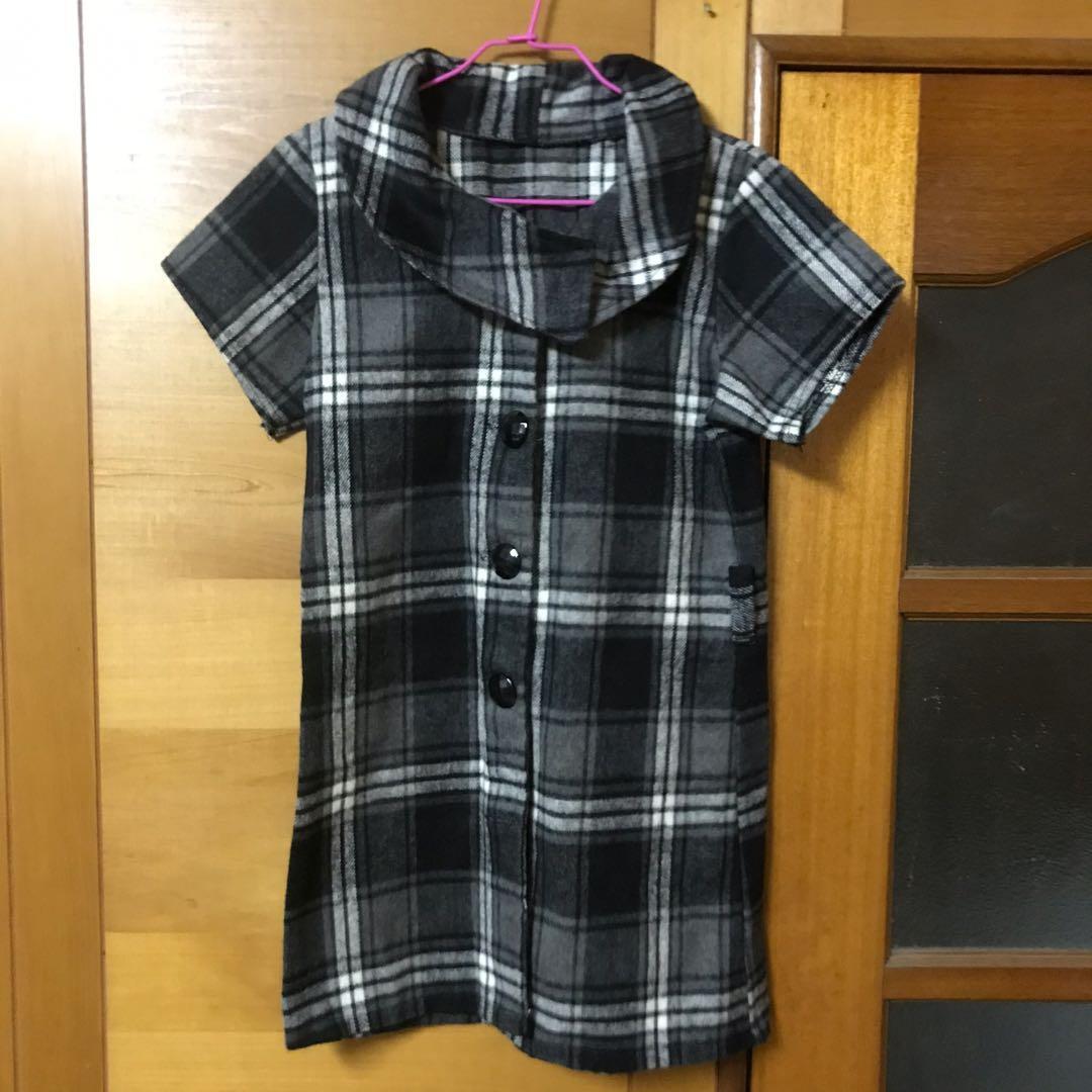 格紋短袖上衣洋裝 微短裙