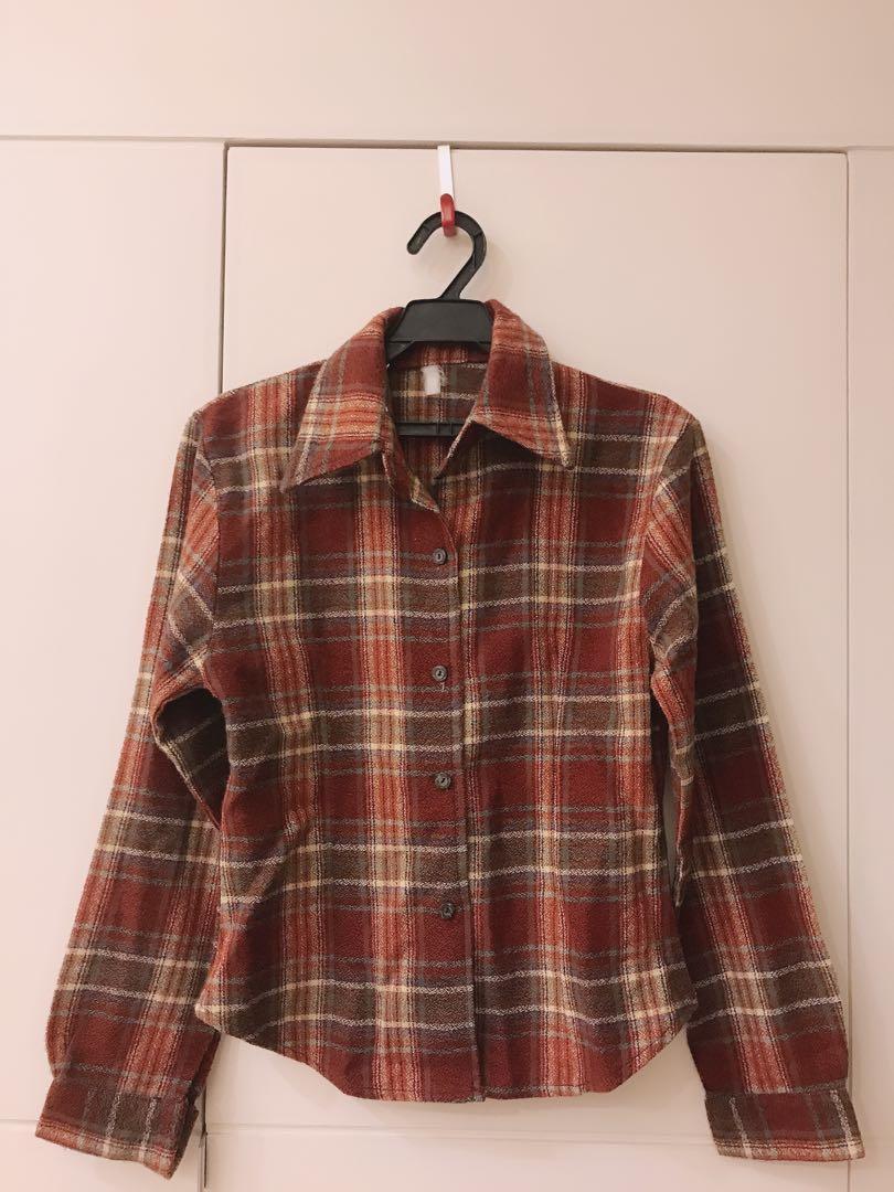 格子 厚版襯衫 外套 上衣