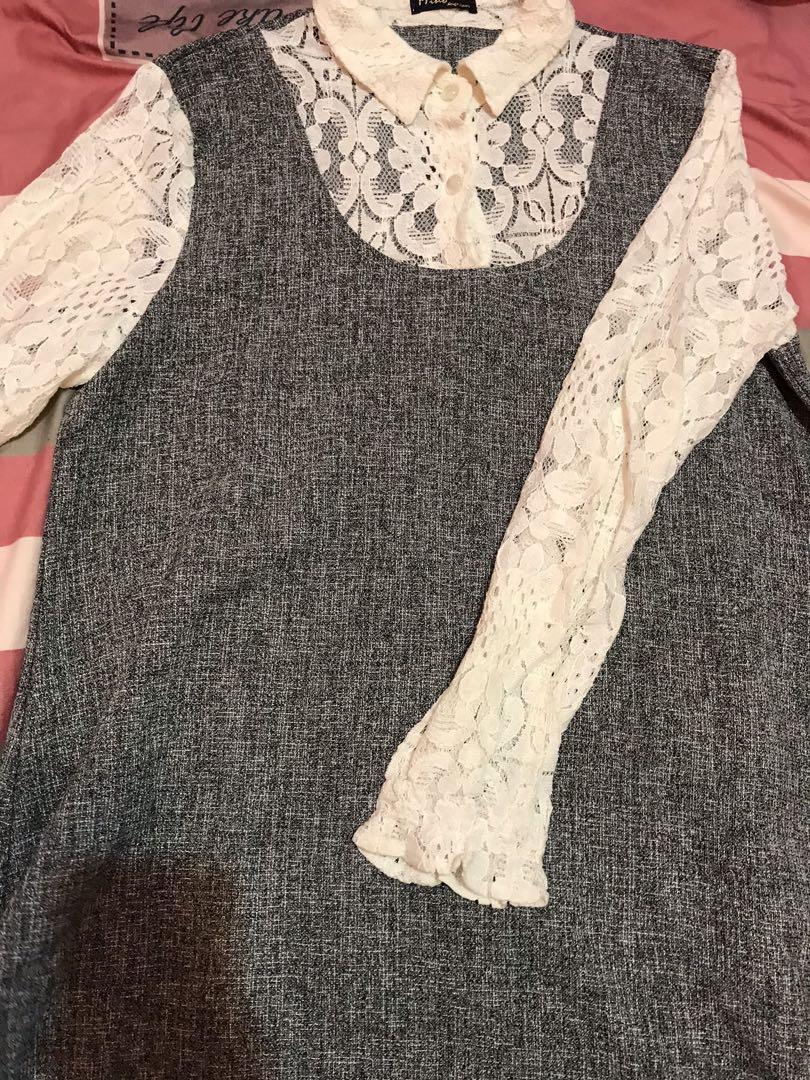 全新!灰白 蕾絲短裙洋裝