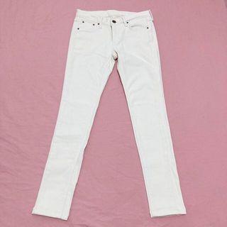 彈性小腳褲/鉛筆褲/內搭褲/米白色牛仔褲