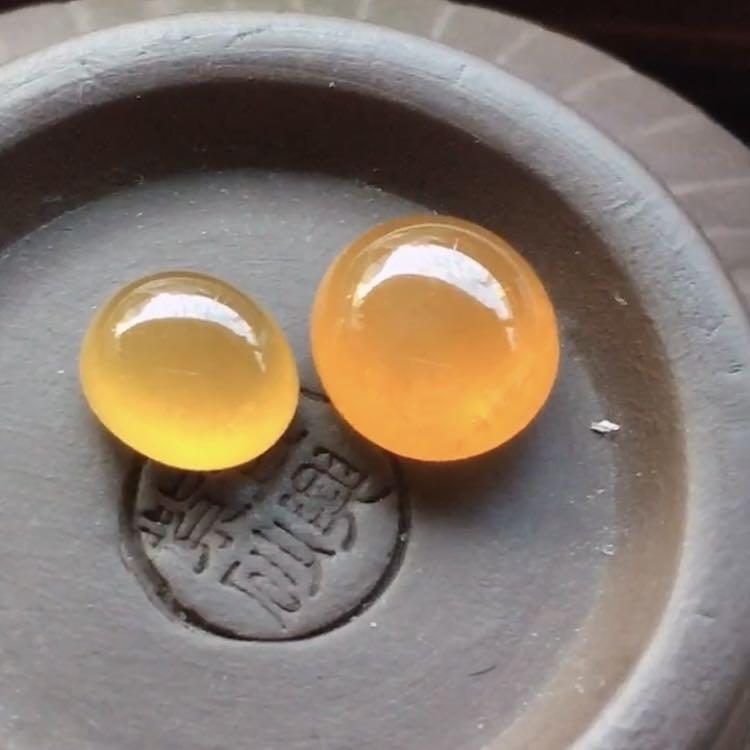 🎈翡翠冰黃翡蛋面 完美 尺寸8.5-7.8-4.5/6-7.1-3.9mm 特價18800一對