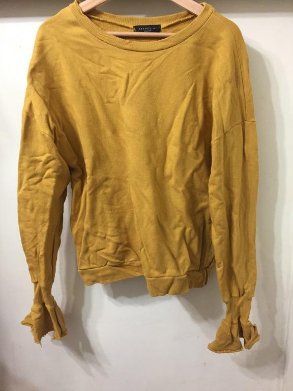 [全新] 韓國製 芥黃色長袖圓領上長花苞袖口