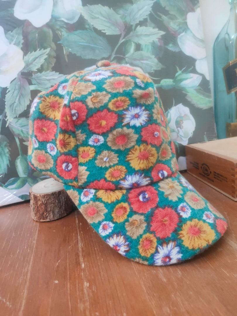 百搭花朵毛呢棒球帽 滿版小野菊遮陽帽 鴨舌帽