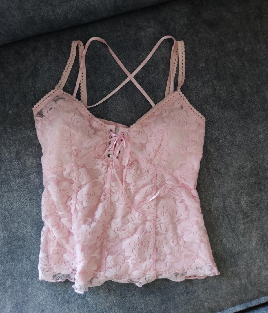 香港買粉紅色蕾絲有胸墊細肩帶睡衣 馬甲綁帶 粉嫩粉色可愛性感睡衣