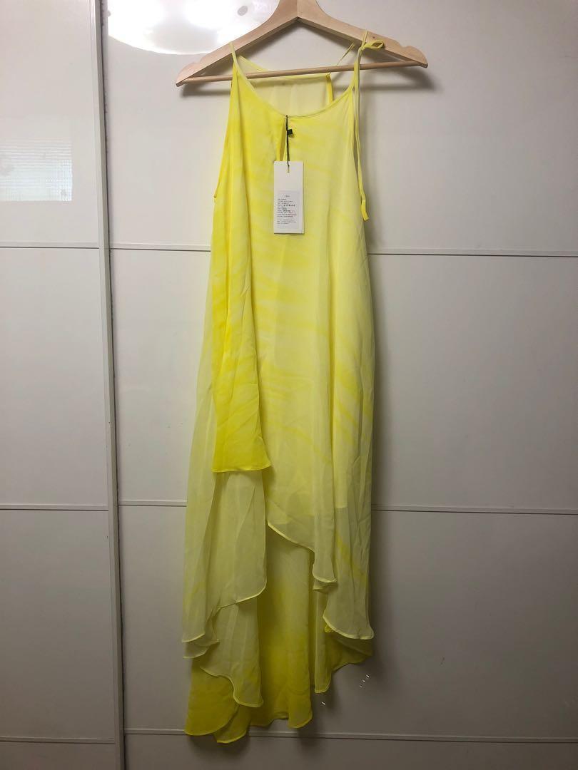 前短後長 全新未剪的標 渡假薄紗洋裝 綁帶