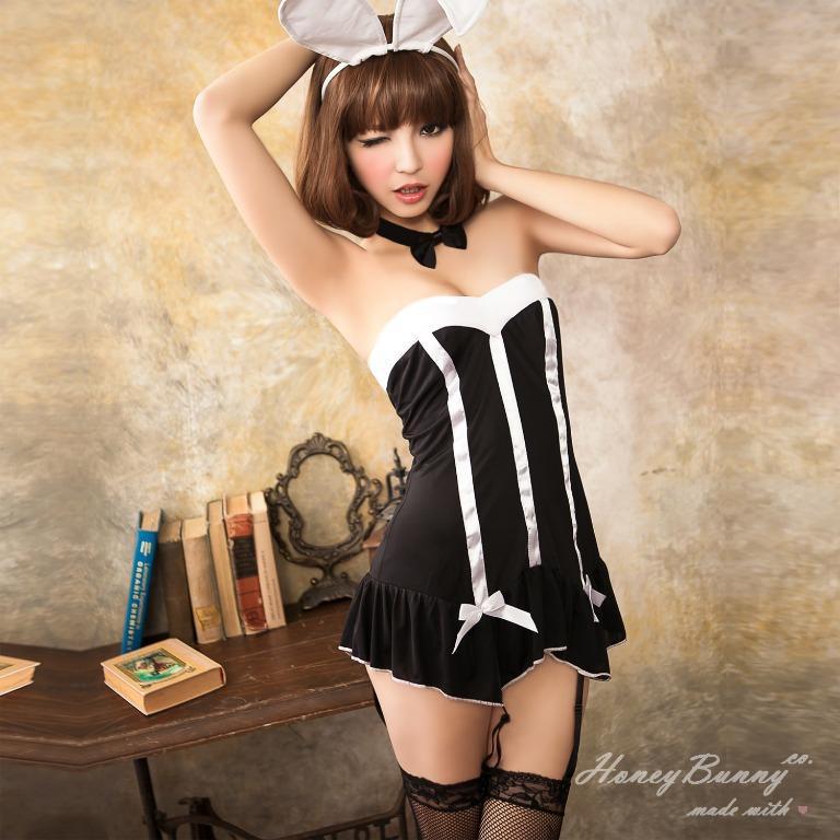 驚奇兔女郎--黑色平口長馬甲角色扮演服||表演服||變裝派對||主題派對||制服 六件組 (S~M適穿)