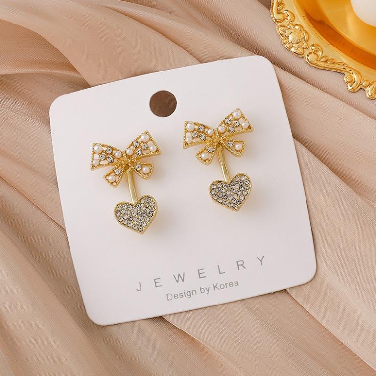{朵朵韓飾} B5932 韓國直送(正韓)-925銀針 氣質甜美珍珠水鑽愛心蝴蝶結耳環