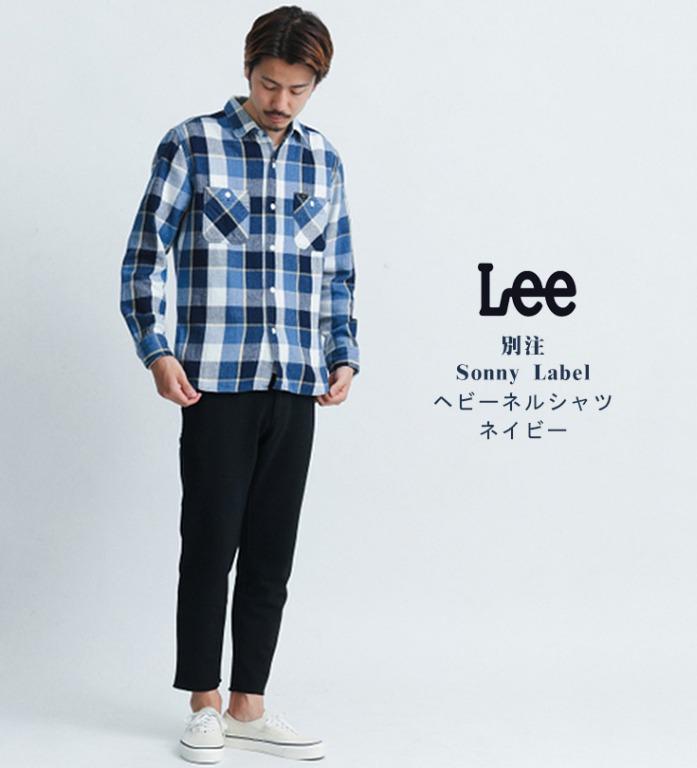 【現貨】日版 Lee x Urban Research 藍色日系大格紋 厚粗棉 長袖立領休閒襯衫
