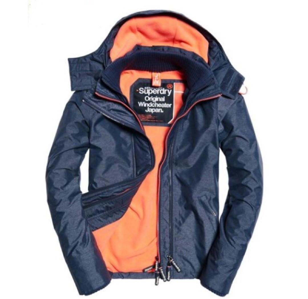 英國購買 女款superdry 極度乾燥 M號 約9.5新 灰橘 三拉鍊刷毛保暖 外套 防潑水 防寒 連帽 風衣 衝鋒衣