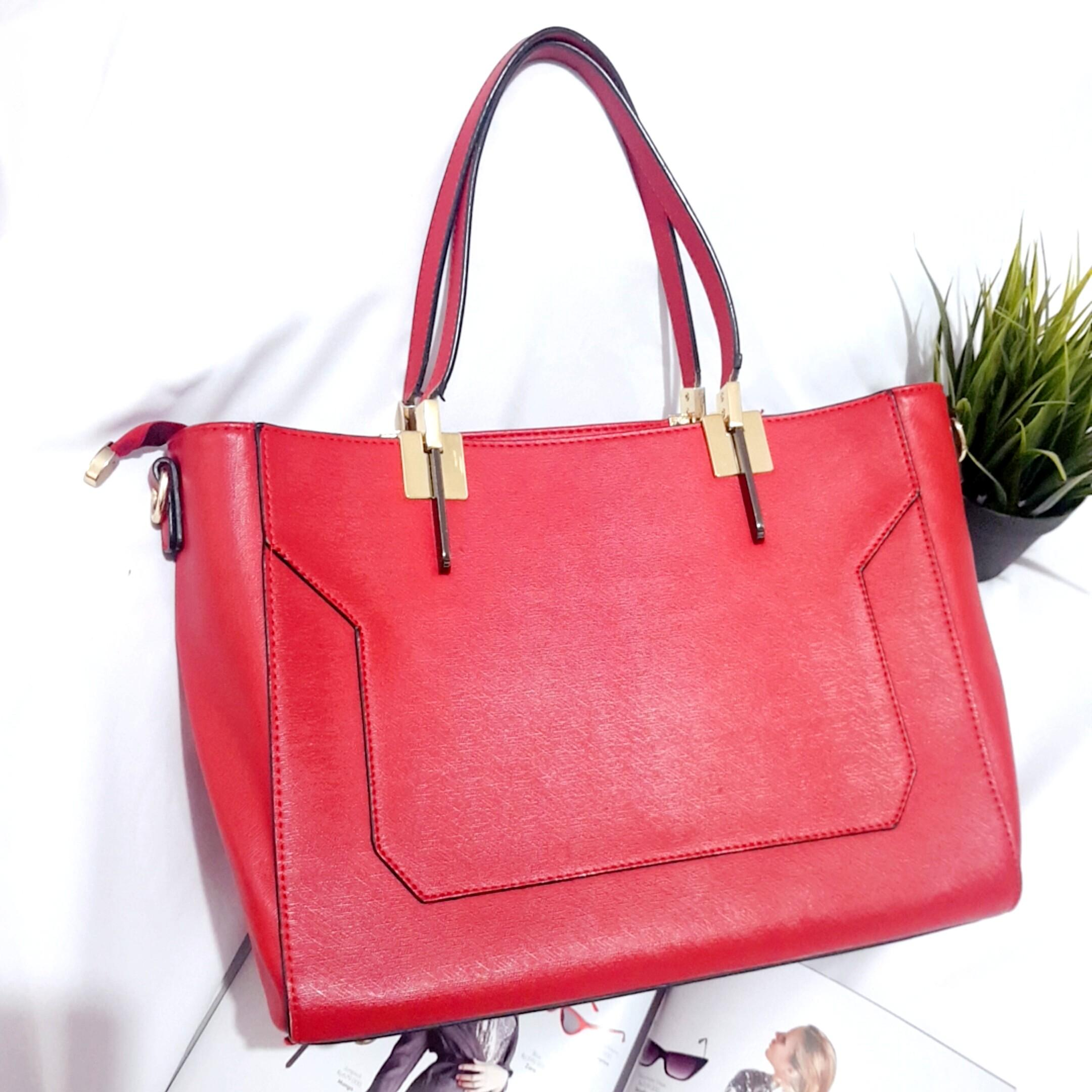 BRANDED HANA BAG ORIGINAL TOTE BAG MERAH RED SHOULDER BAG SLING BAG JUMBO BIG HAND BAG