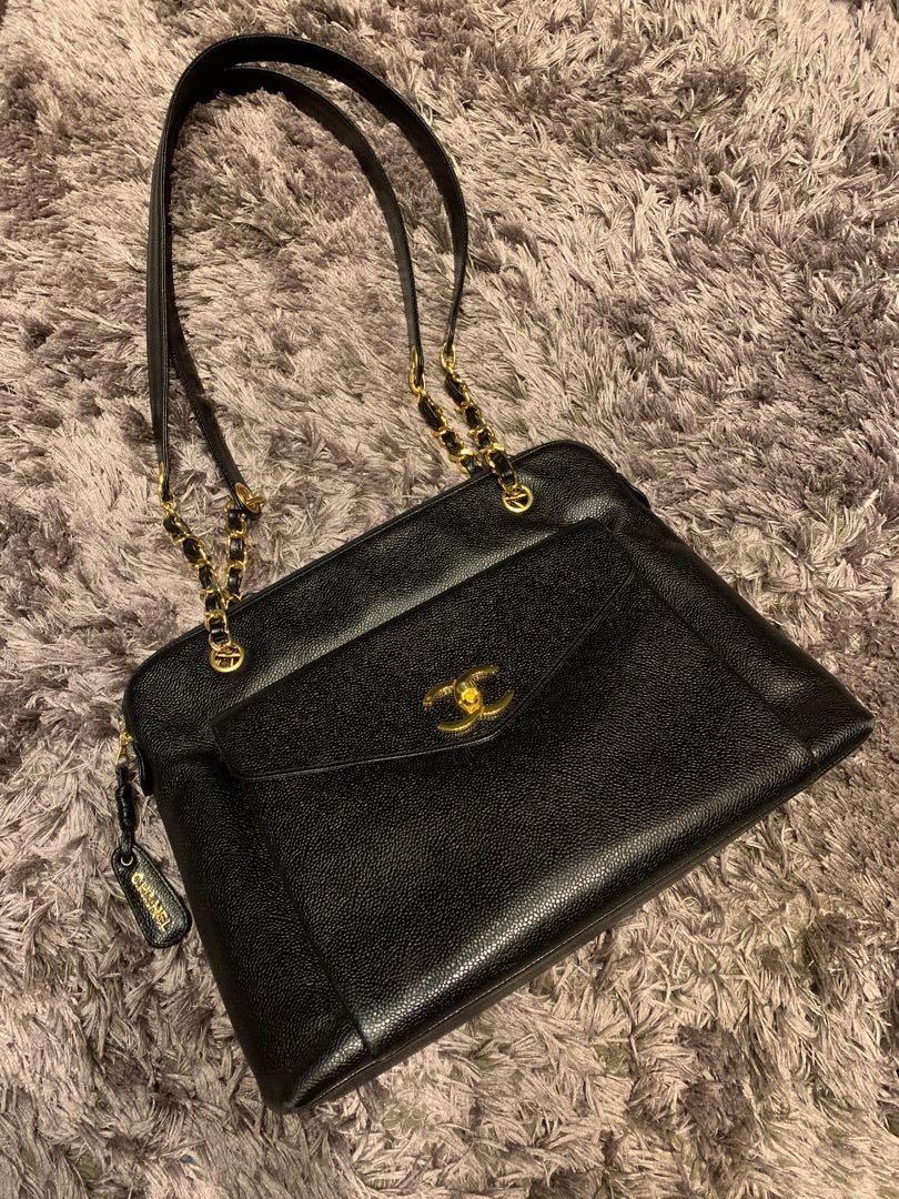 Chanel vintage 香奈兒荔枝皮經典大双C logo鈕扣包