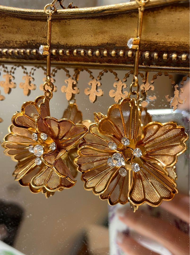 Cor-date網狀花朵夾式耳環