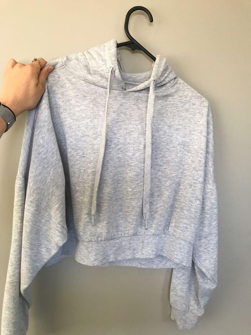 Cotton On Grey Crop Jumper, Size XS