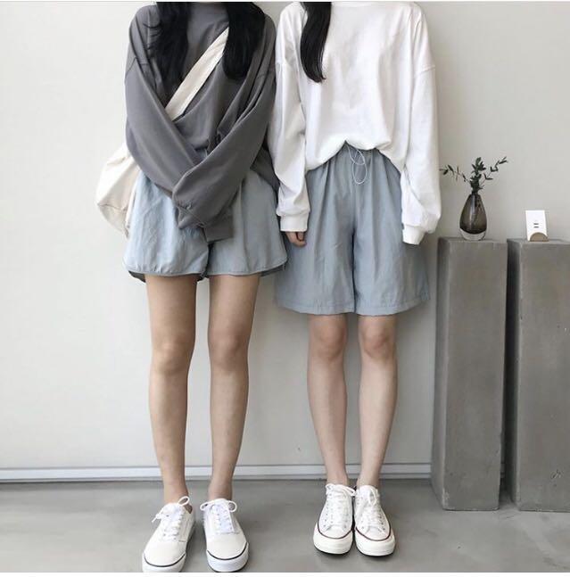 Dailyjou 韓版五分率性直筒褲(右)