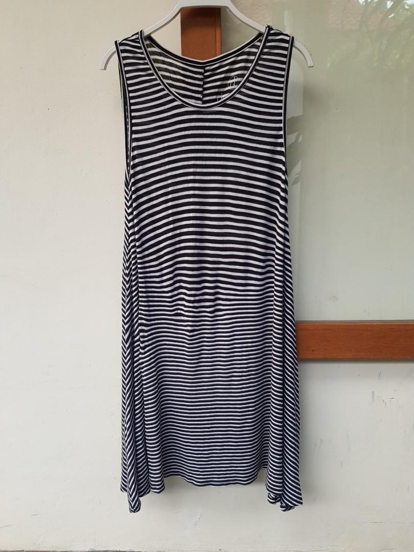 DECREE Lounge Wear Comfort Stripes Sleeveless Dress