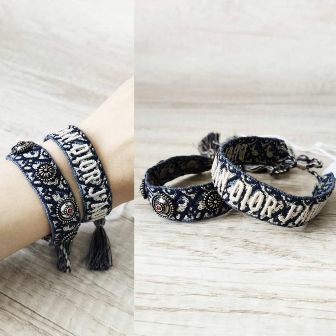 Dior woven friendship bracelet with metal studs oblique blue. (1 set 2 bracelets)