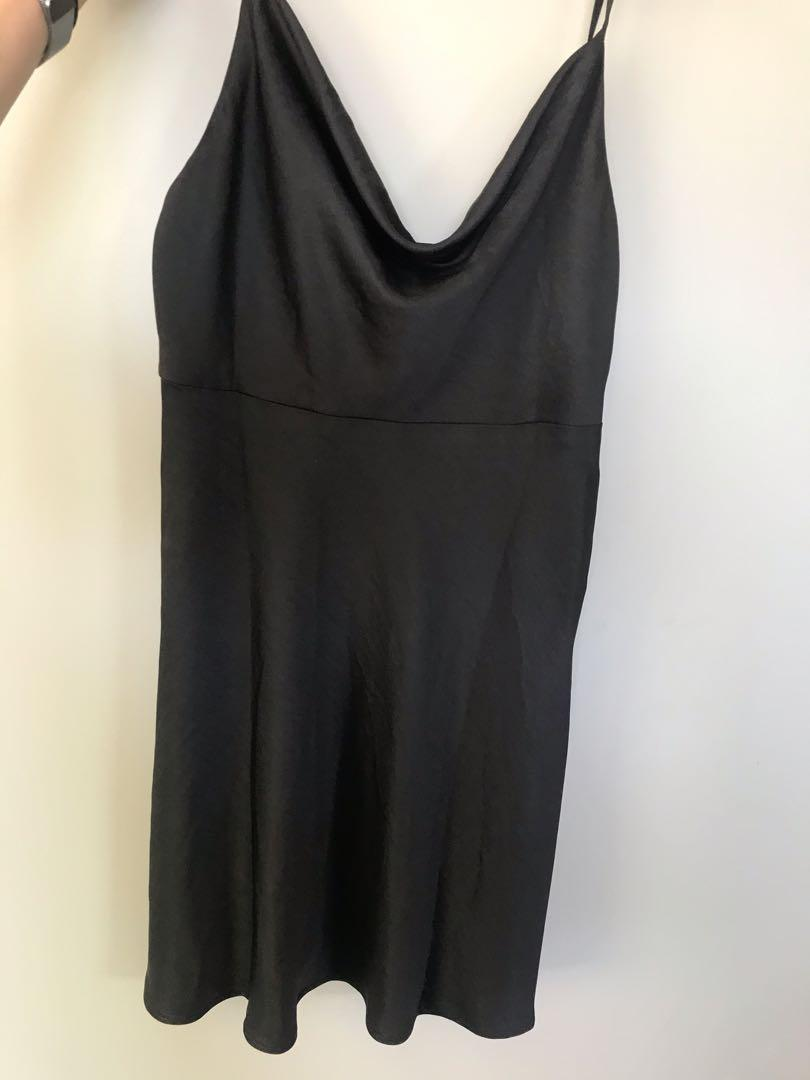 Dotti Silk Black Slip Dress, Size 8