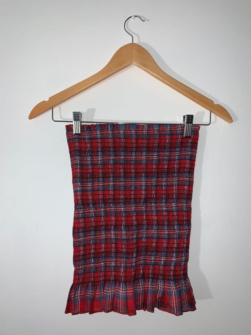 FashionNova Ruched Plaid Skirt