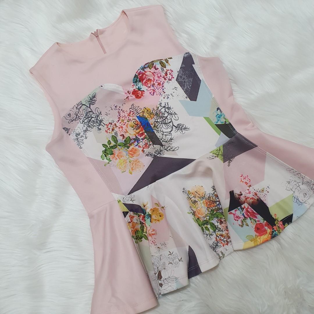 Floral Baby Pink Pastel Peplum Top