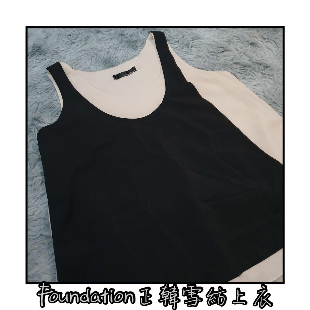 [Foundation]正韓 米黃色 黑色 撞色 層次感 假兩件 雪紡 無袖 上衣 零碼 F碼