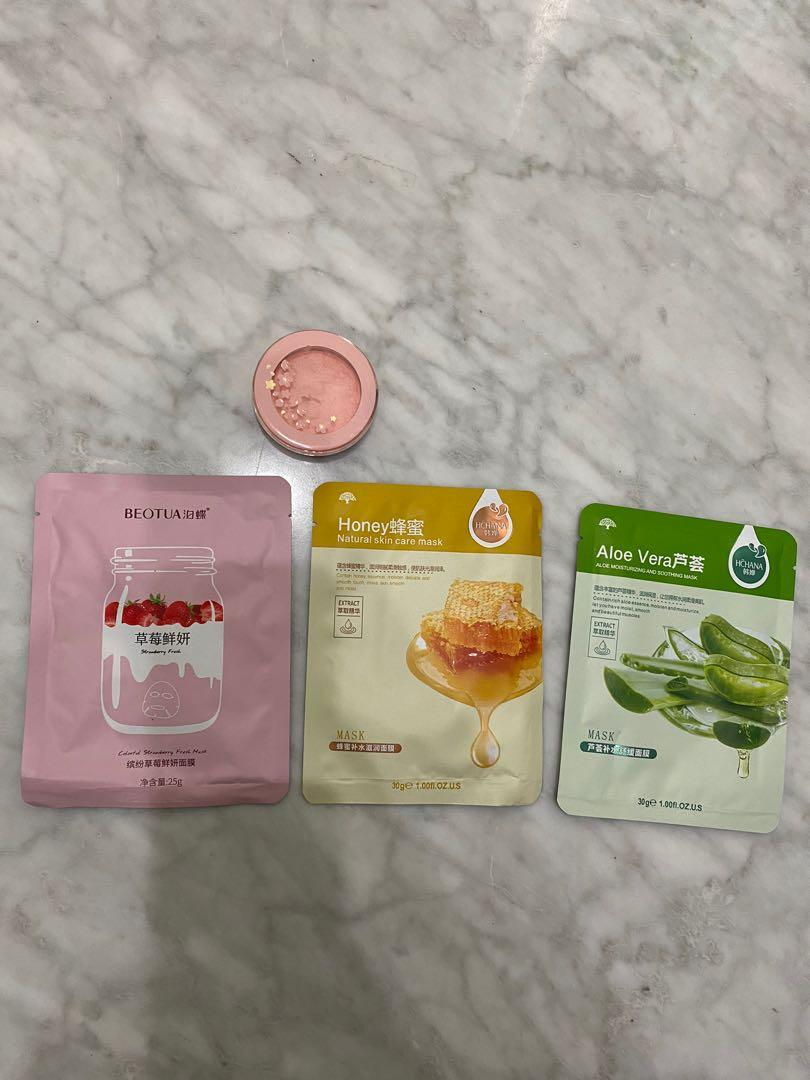 FREE (baca description) Masker Korea + Blush On etude house peachy pink