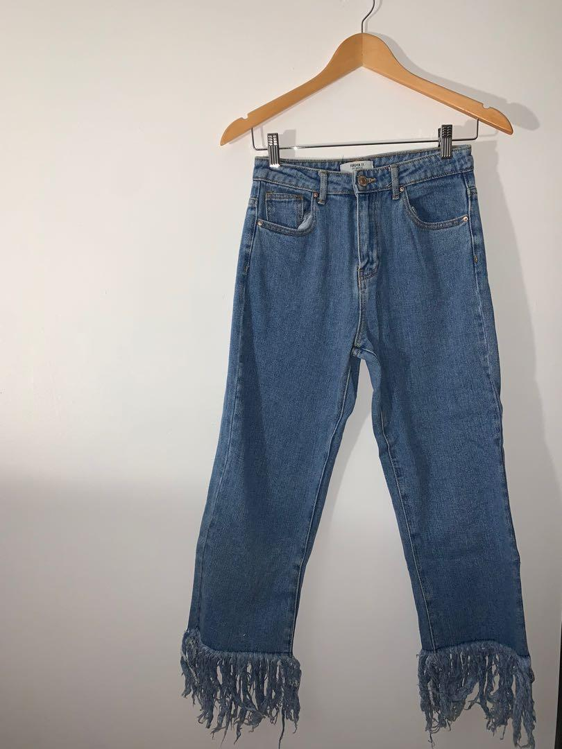 Fringed High Waisted Mom Jeans