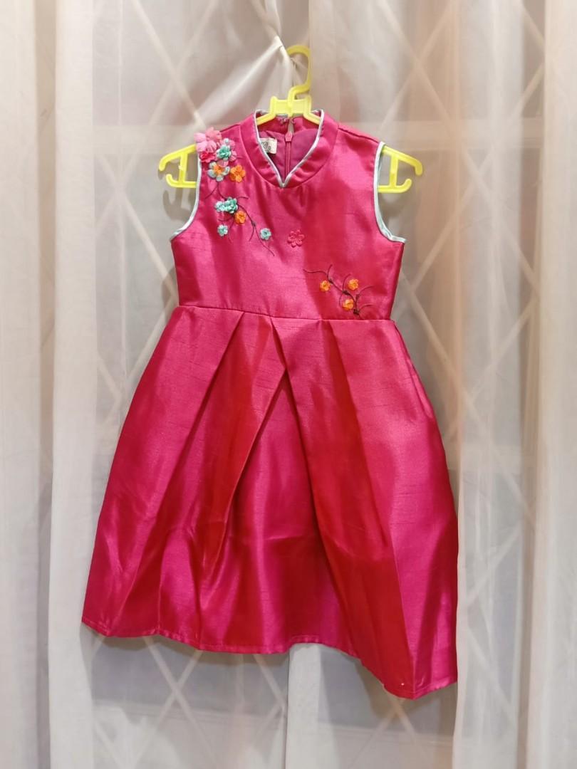 Fuchsia cheongsam dress